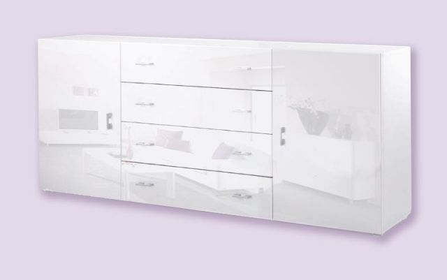 kommode sideboard anrichte s 2 weiss hochglanz ebay. Black Bedroom Furniture Sets. Home Design Ideas
