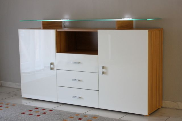 anrichte sideboard kernbuche weiss hochglanz ebay. Black Bedroom Furniture Sets. Home Design Ideas