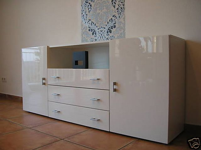 moderne kommode sideboard anrichte weiss hochglanz ebay. Black Bedroom Furniture Sets. Home Design Ideas
