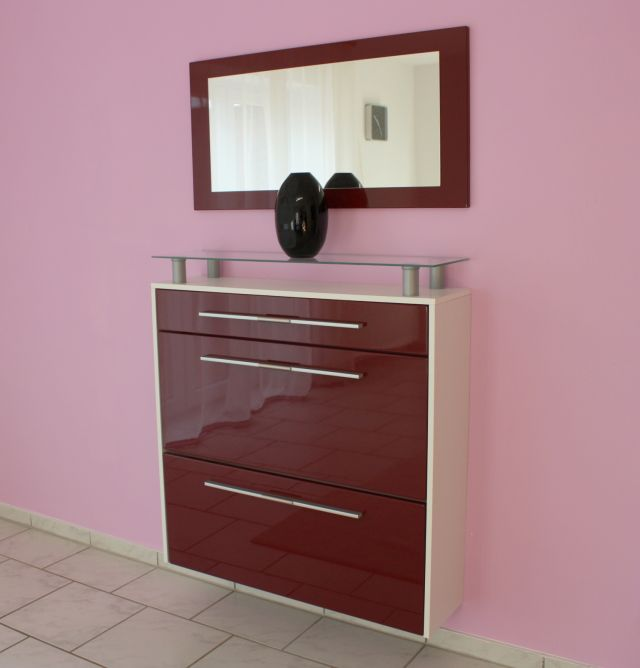 h nge schuhschrank weiss bordeaux hochglanz mit spiegel ebay. Black Bedroom Furniture Sets. Home Design Ideas