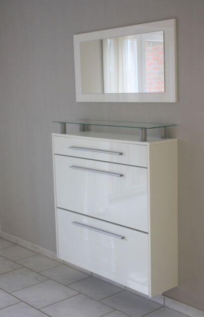 h nge schuhschrank weiss hochglanz mit spiegel. Black Bedroom Furniture Sets. Home Design Ideas