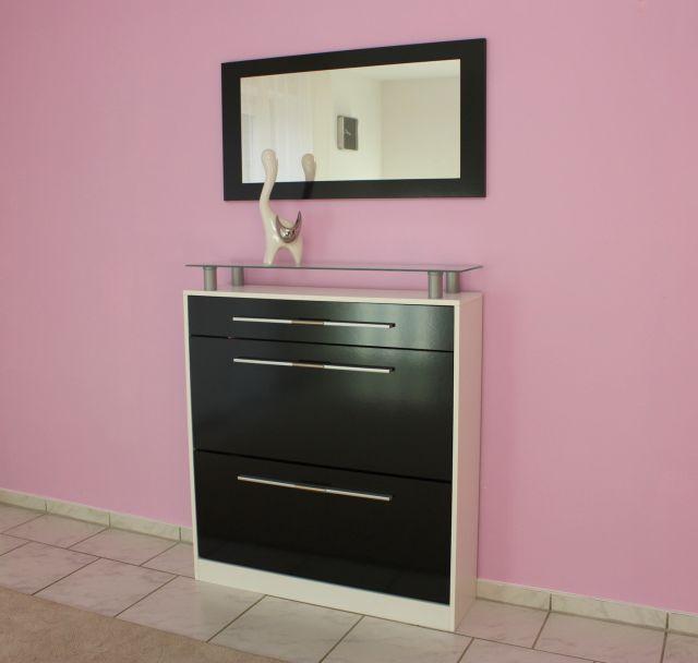 Schuhschrank mit spiegel schwarz weiss gl nzend ebay for Schuhschrank und spiegel