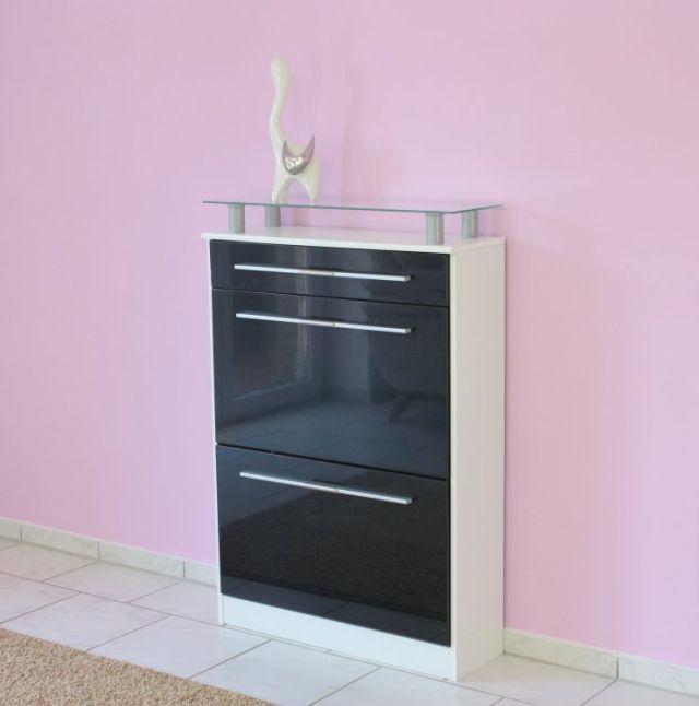 schuhschrank schwarz hochglanz neu ovp. Black Bedroom Furniture Sets. Home Design Ideas