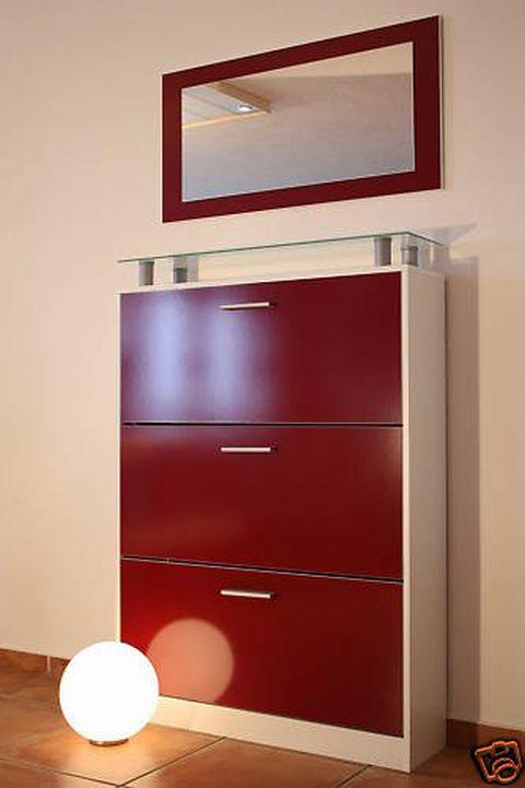 Schuhschrank mit spiegel weiss rot neu ovp gl nzend ebay for Schuhkommode mit spiegel